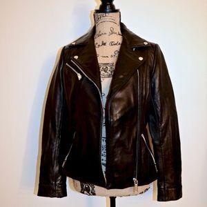 Stylish Black Leather Moto Biker Jacket